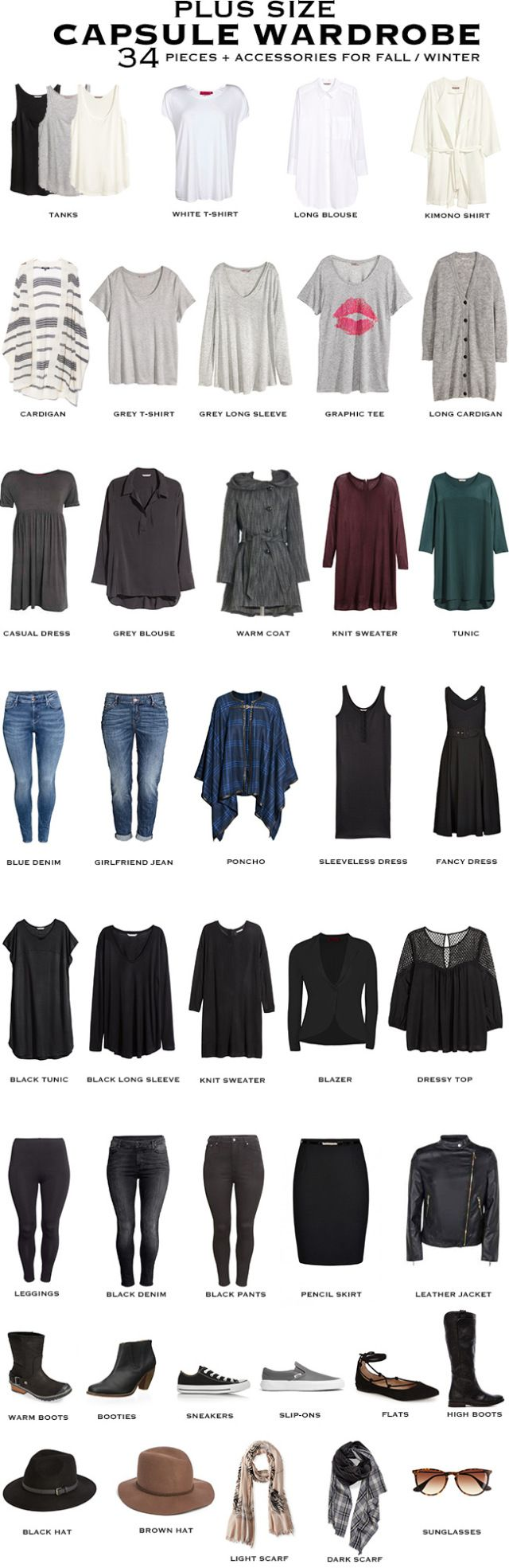 0dc3b3c4320 Plus Size Capsule Wardrobe for fall winter. 34 pieces + accessories will  transition you through to summer.  capsule  capsulewardrobe  plussizefashion