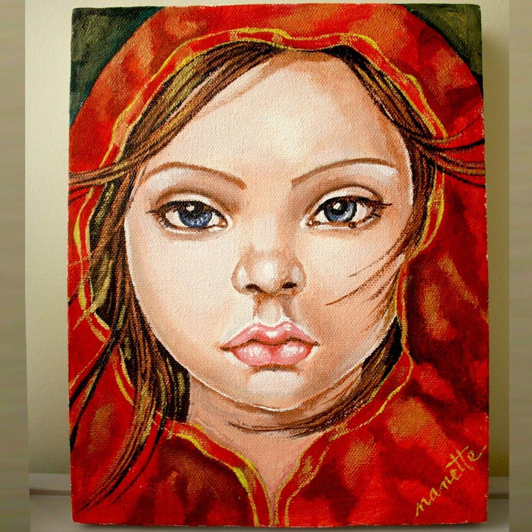 Little Red. #acryliconcanvas #handpainted #redhood #ncatigbemd #portrait #artwork #customart #girl