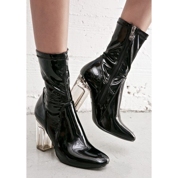 dcbfce1667e Black Clear Heel Boot ($48) ❤ liked on Polyvore featuring shoes, boots, mid  calf boots, black boots, patent leather boots, block heel boots and side  zipper ...