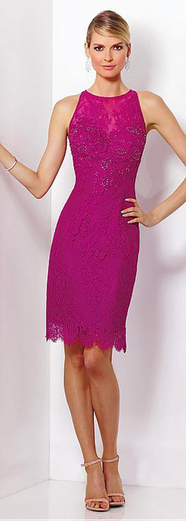 Stunning Lace Jewel Neckline Short Sheath Mother Of The Bride ...