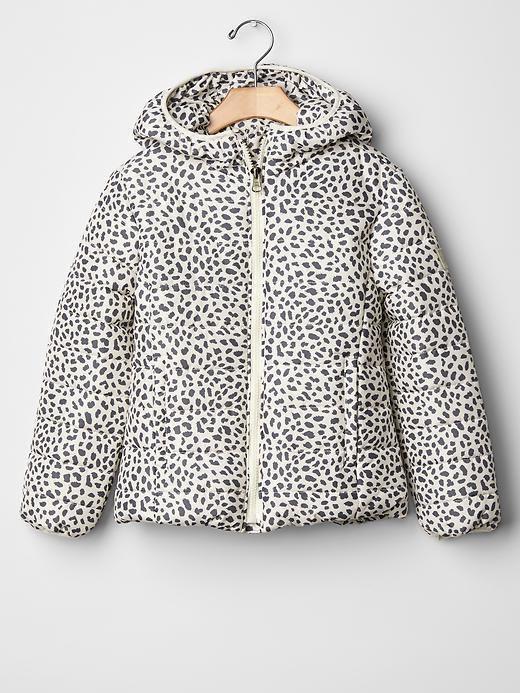 Girl Puffer Winter Jacket Cheetah Lightweight Hood PrimaLoft GAP ...