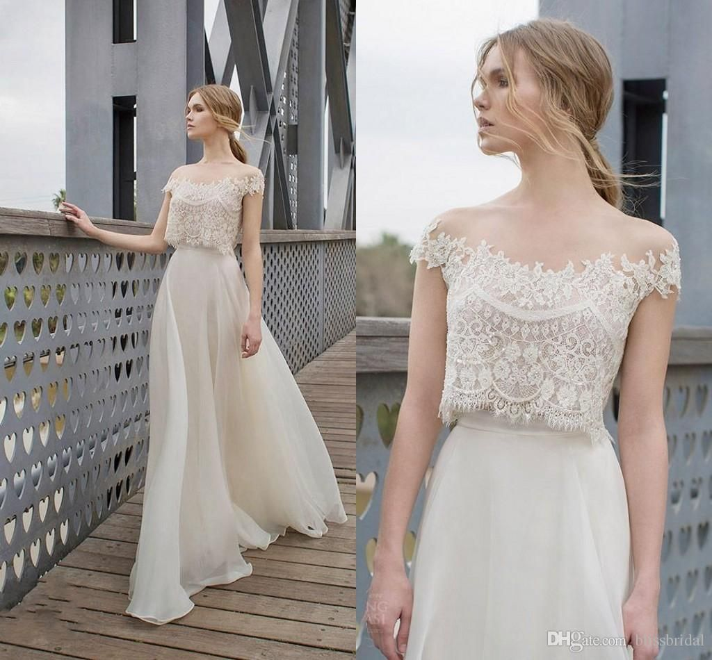 Satin A Line Wedding Dress Two Piece Boho Dresses Lace Liques Bodice Illusion Neckline Chiffon Bohemian Bridal 2017