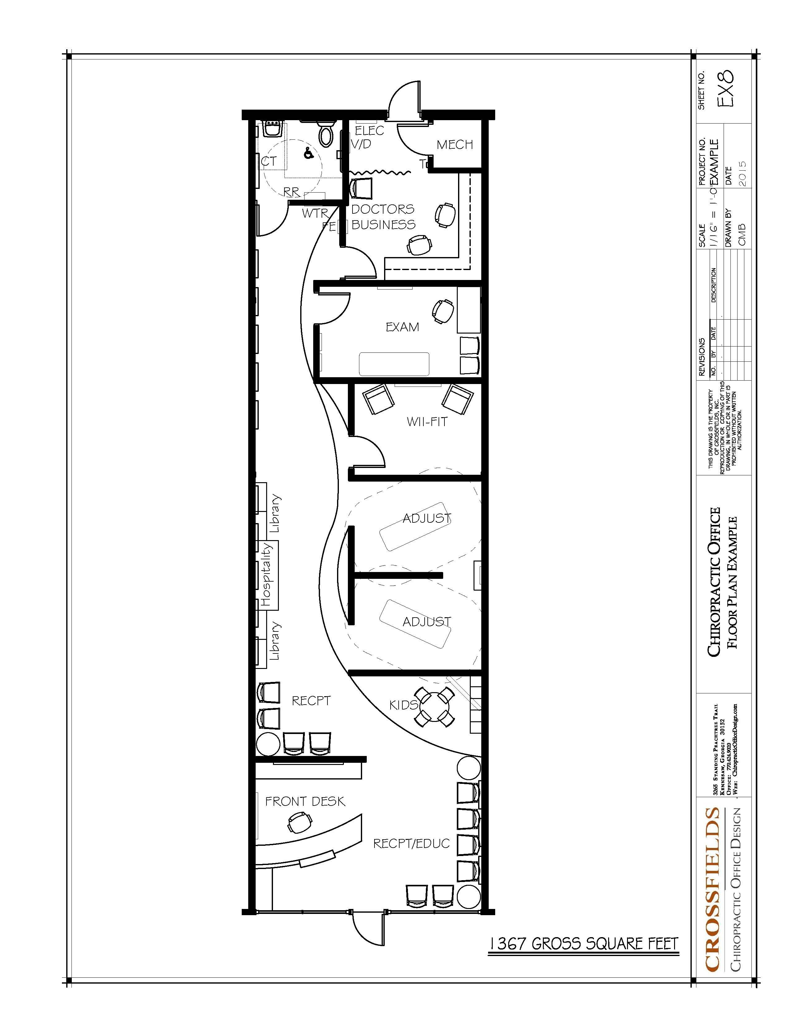 Chiropractic floor plan semi open adjusting retail start up space 1367 gross sq