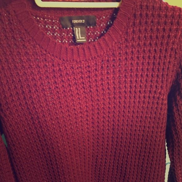 Long sweater perfect for leggings cranberry Long sweater could possibly be worn as a dress! Super cute with leggings or any skinny jeans for that matter! Brand new never worn, really pretty cranberry color Forever 21 Sweaters