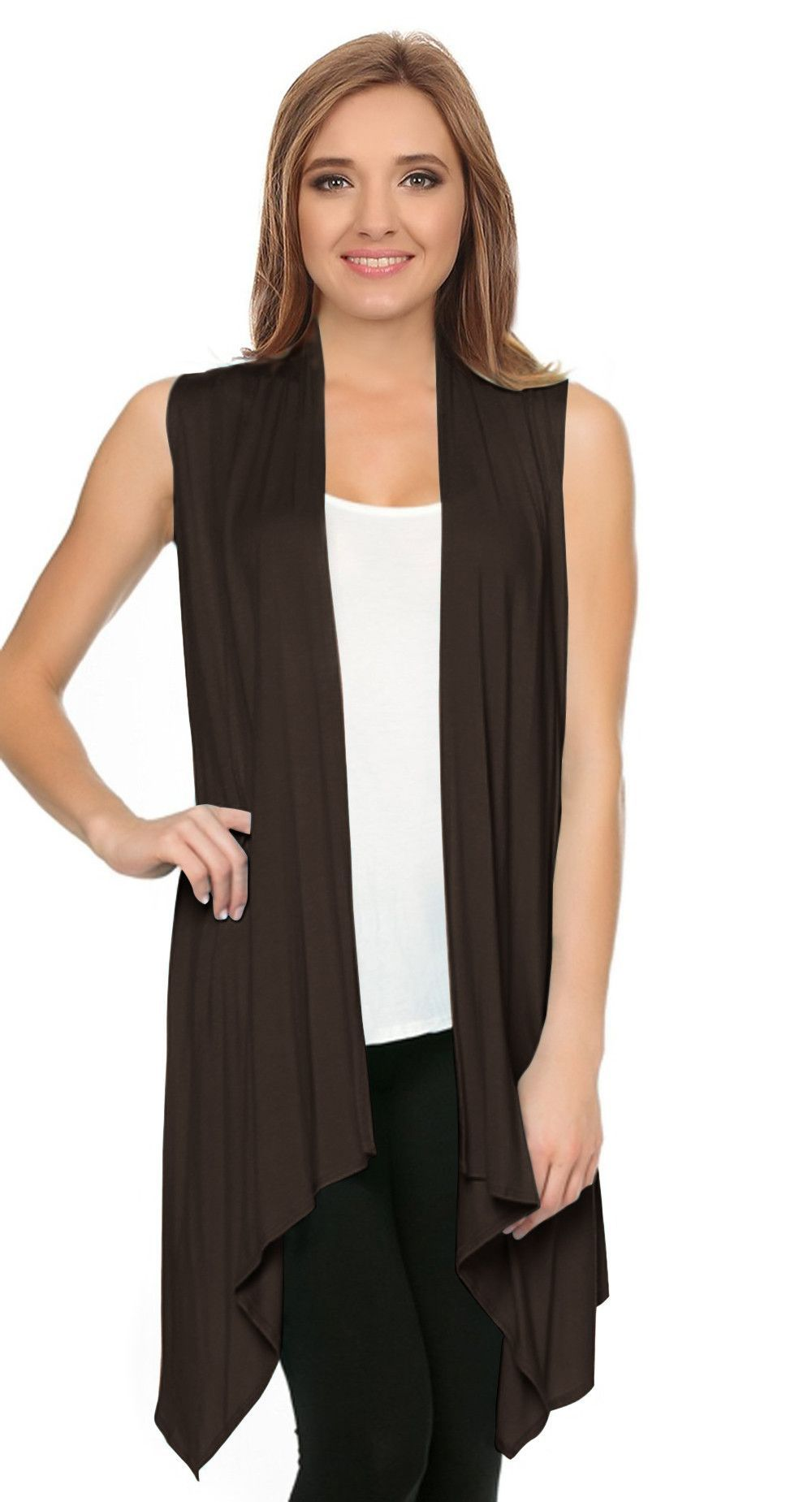 Asymmetrical Draped Open Front Sleeveless Cardigan | Products