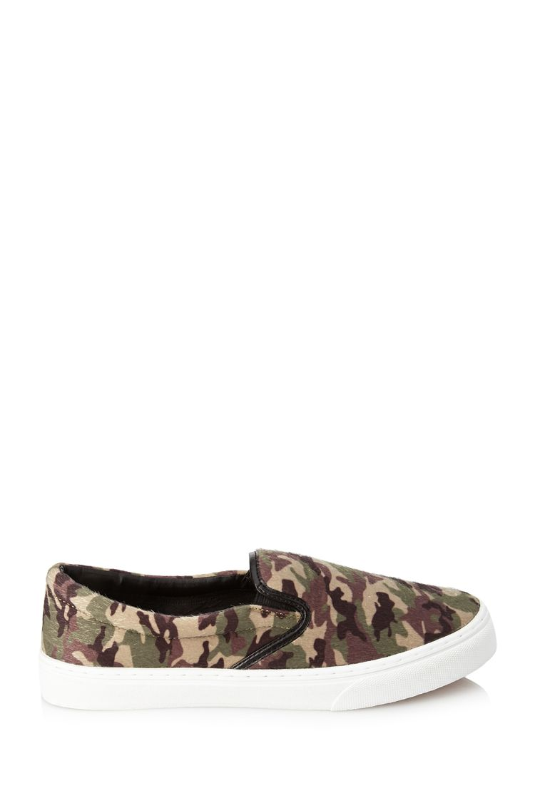 Camo Pony Hair Slip-Ons | FOREVER21 #Camo #Sneakers
