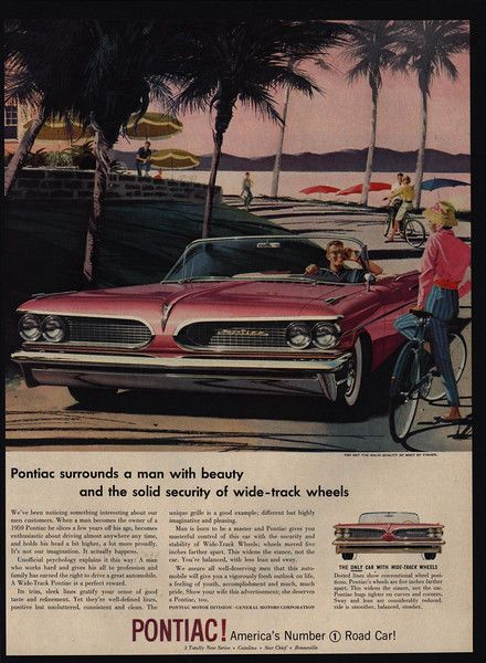 1959 PONTIAC BONNEVILLE Convertible Car – Bicycles – Ocean Beach – VINTAGE AD  | eBay