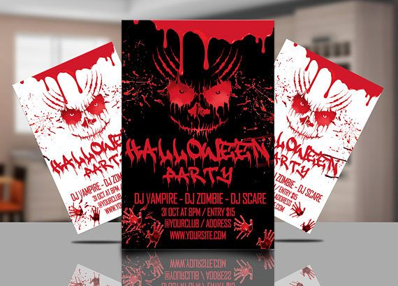 Halloween Party Flyer Template Black And White Print Ready