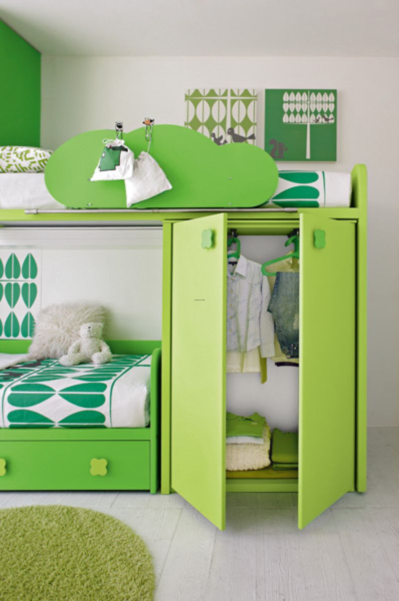 Green room paint ideas - Mint Green Room Idea With Bunk Bed Also White Wall Paint Color