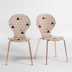 Chaise Fourmi Chene Et Imprime Pieds Cuivre Elori Lot De 2 Chaise Fourmi Mobilier De Salon Table Et Chaises