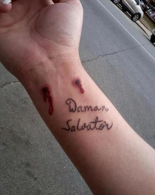 """17b326408 Nice tattoo #TVD<<<Am I the only one who noticed that she/he forgot the """"e""""  in Salvatore."""