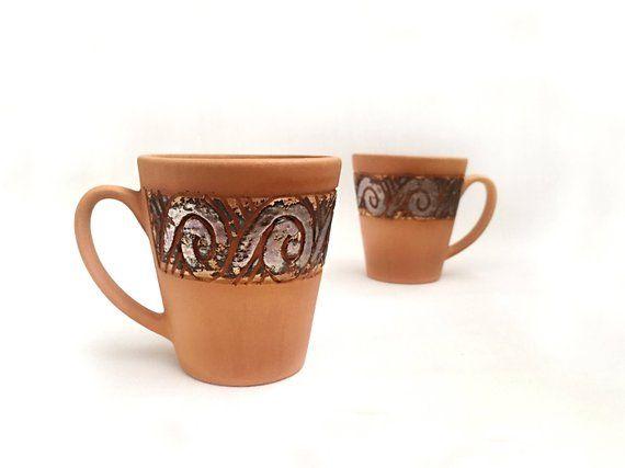 a839dc8b49e coffee mug 9oz -tea cup-set of 2- glaze-rustic charm-copper shade ...