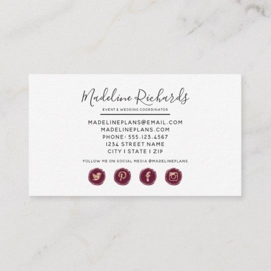 Burgundy Pink Floral With Social Media Icons Business Card