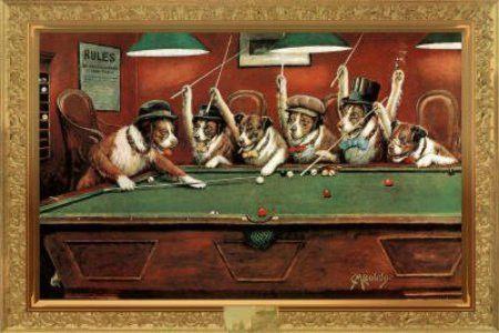 P4111 Art Dogs Playing Billiards All Joke Animal Art Poster Hot Gift 24x36