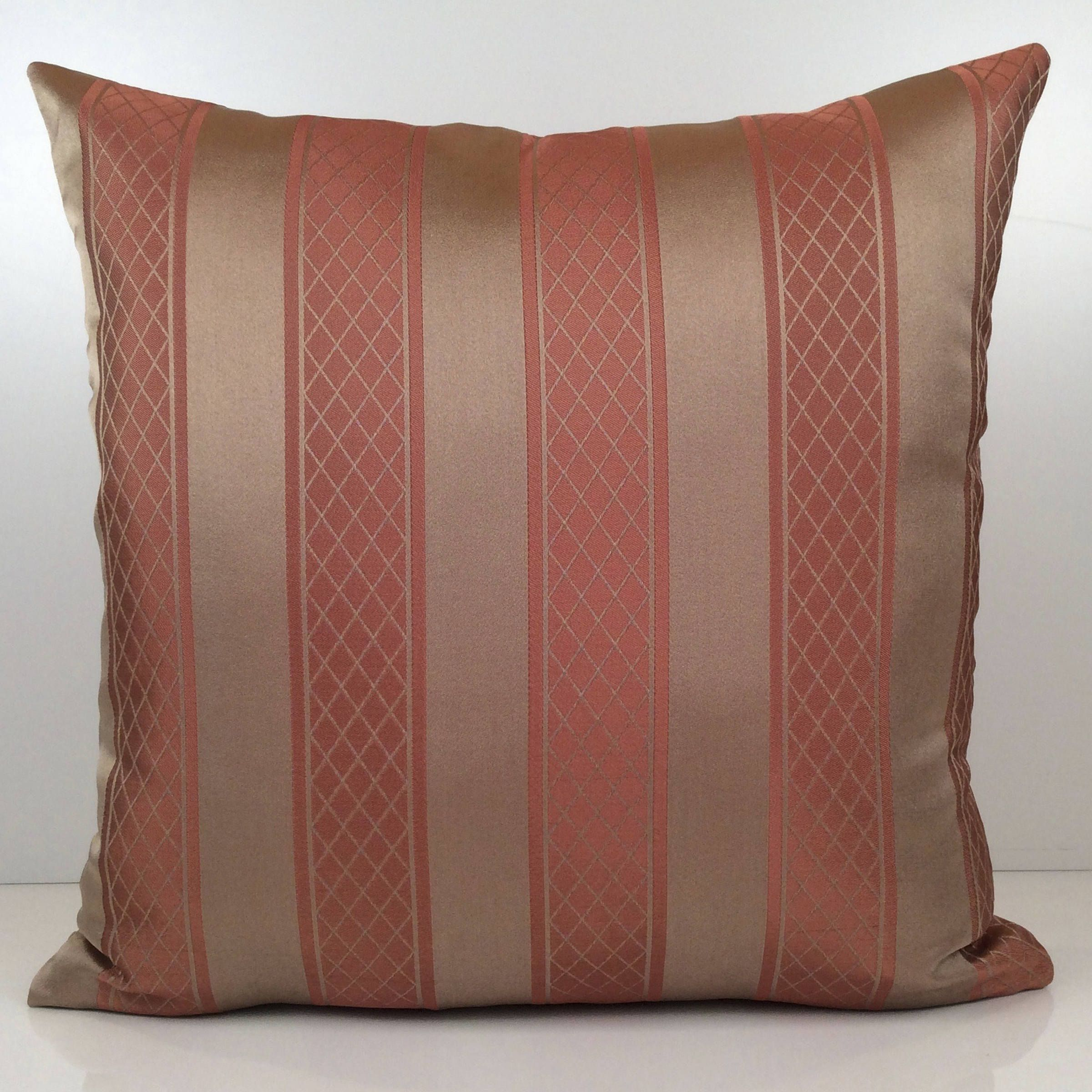Best Tan and Salmon Pink Pillow, Striped Pillow, Throw Pillow Cover  PG02