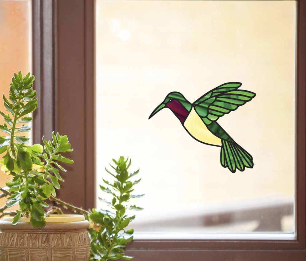 CLR:WND - Hummingbird - Stained Glass Style Vinyl Decal ...