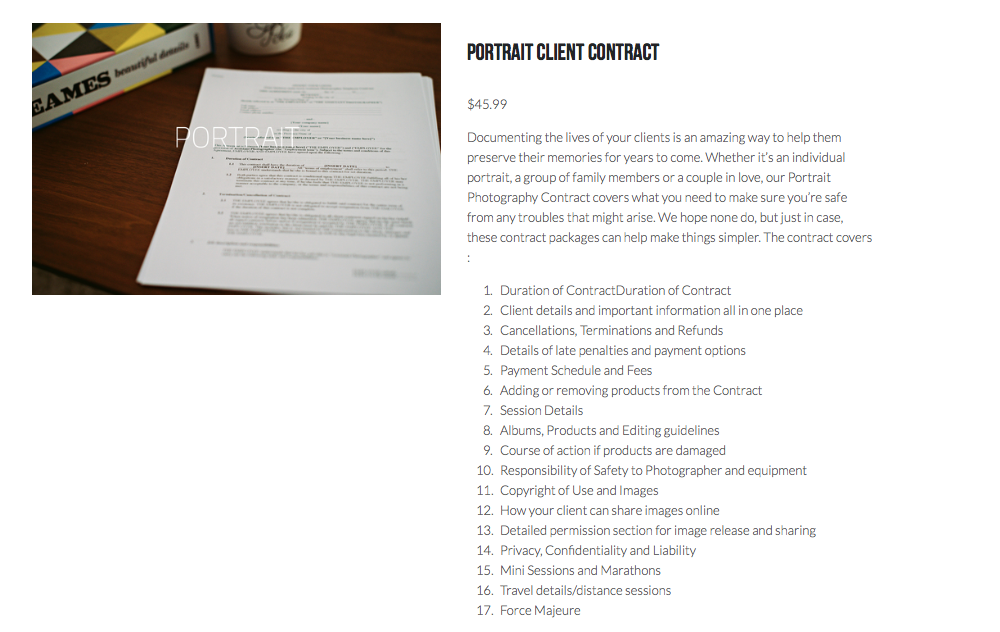 Portrait Photography  Portrait Photography Contract  Wedding