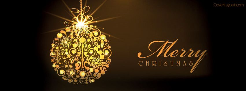 Gold Ornament Merry Christmas Facebook Cover coverlayout.com ...