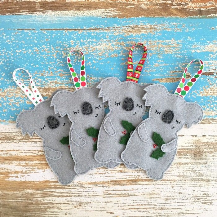 Sleepy koala Christmas decoration, Australian animal, grey