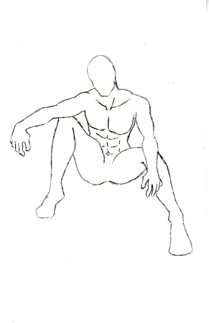 Anime sitting poses male character pose 4 by one with no color