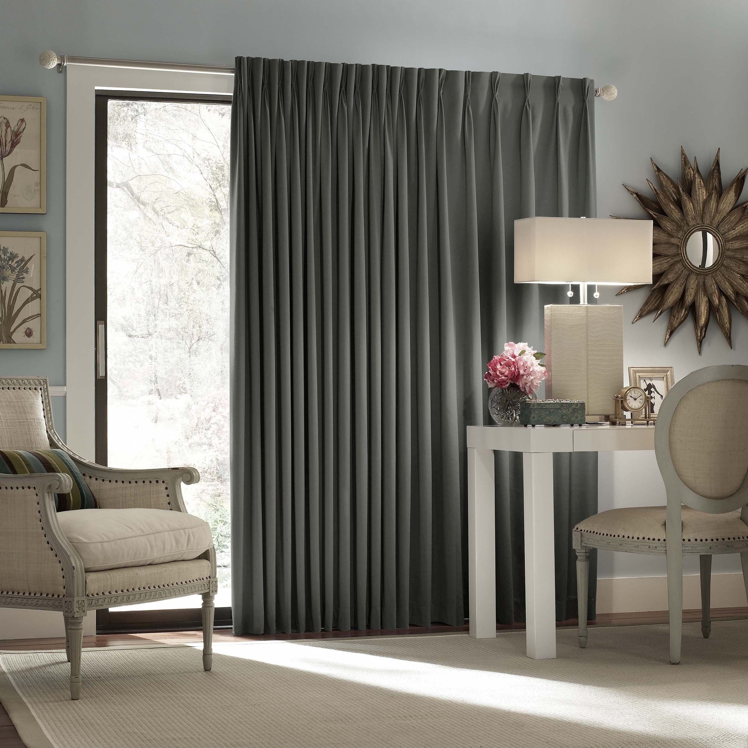 Eclipse Thermal Blackout Patio Door Curtain Panel x Charcoal