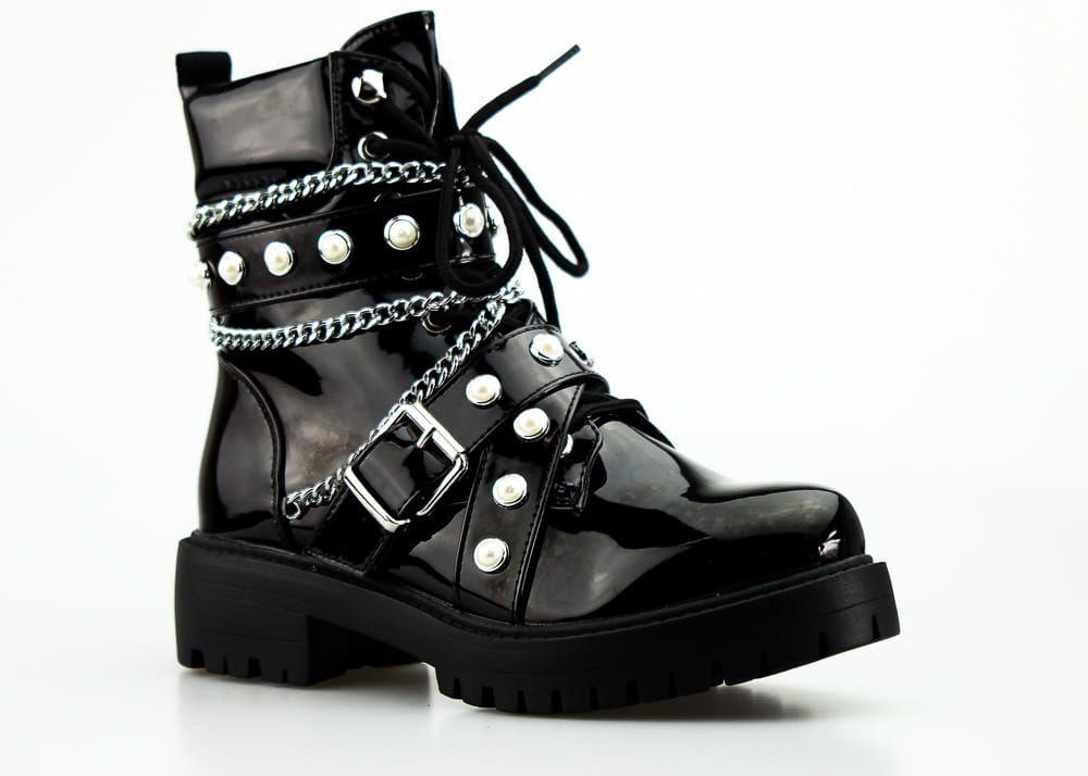 Workery Z Cyrkoniami I Perelkami Czarne Biker Boot Boots Shoes
