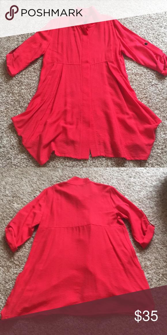 9a089af169749d IC by Connie K Poppy Tunic XL IC by Connie K XL Poppy red Pockets in front  IC by Connie K Tops Tunics