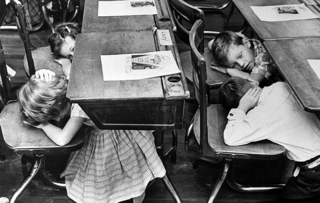 Duck And Cover School Kids In The Cold War Were Taught To Hide Under Desks In Case Of A Nuclear Attack School Safety School Kids School