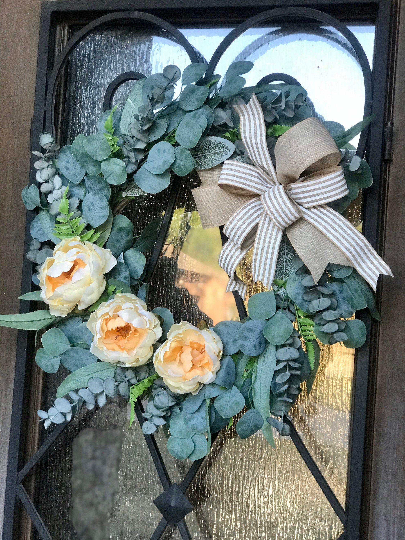 Photo of Farmhouse Door Wreath, Peony Eucalyptus Wreath, Fixer Upper Door Wreath, Monogram Wreath