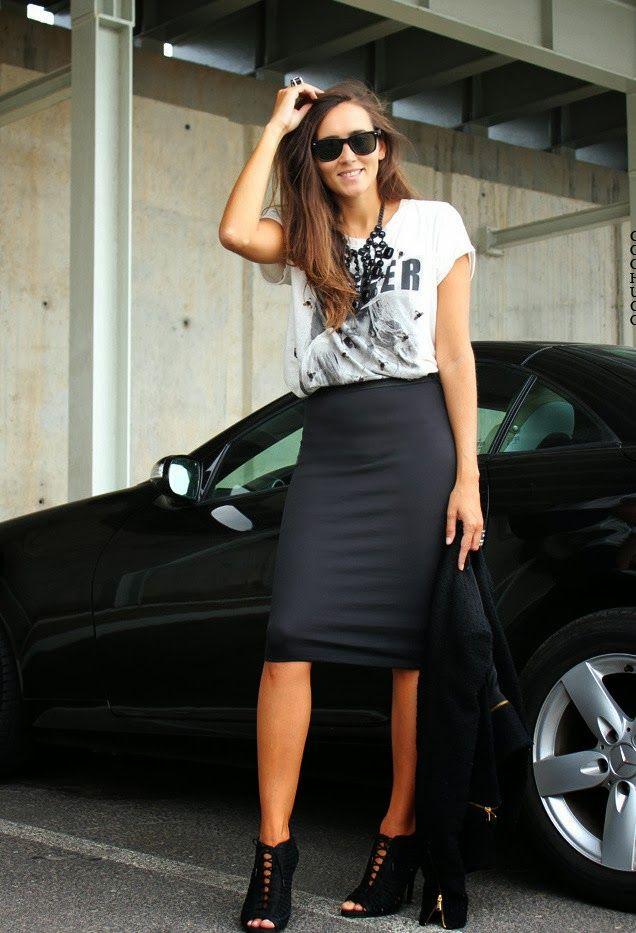 db5f8610c La Falda de Tubo un básico | Moda | Faldas lápiz negras, Faldas tubo ...