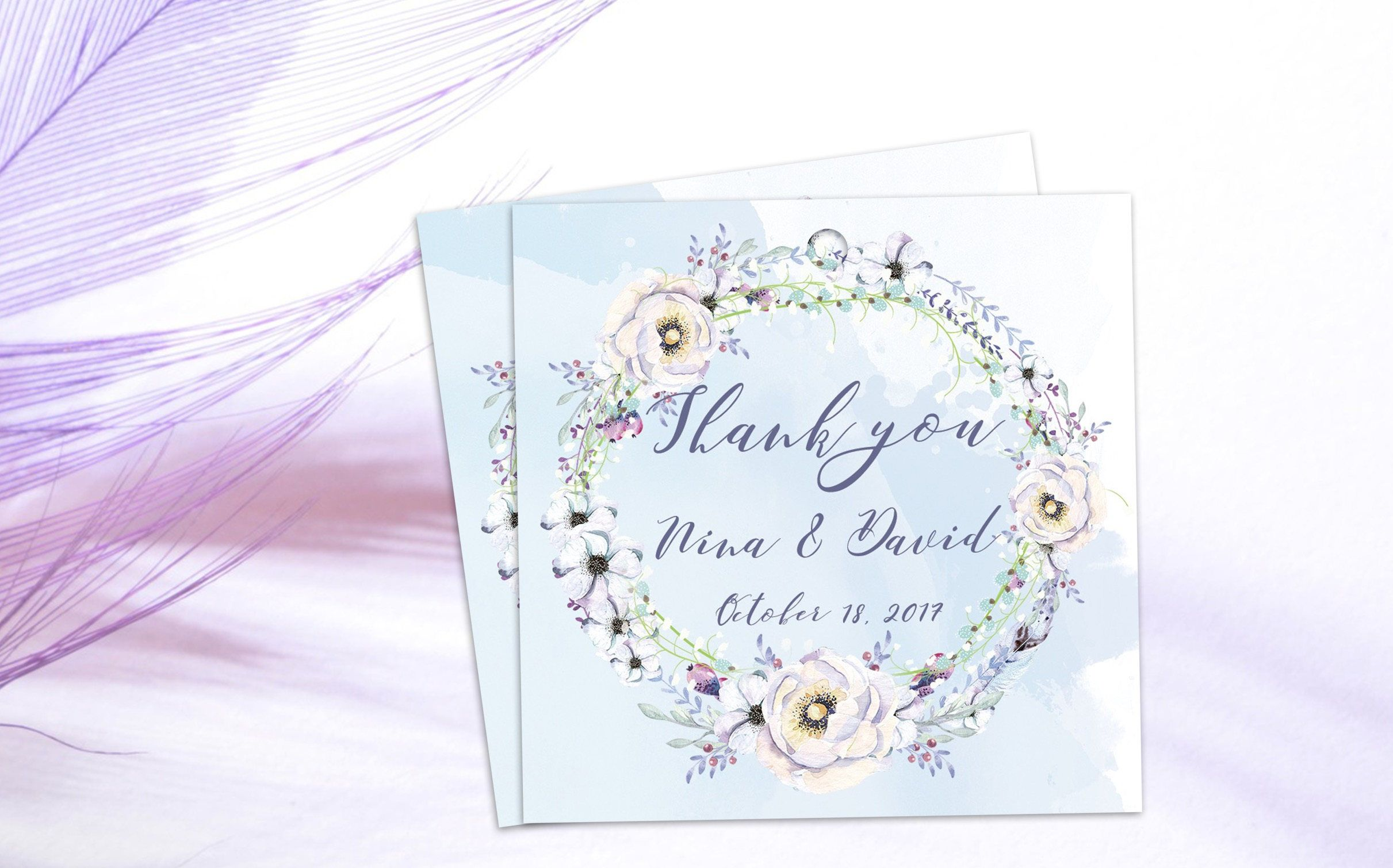 Watercolor Thank You Cards, Wedding Gift Tag, Personalized Favor ...