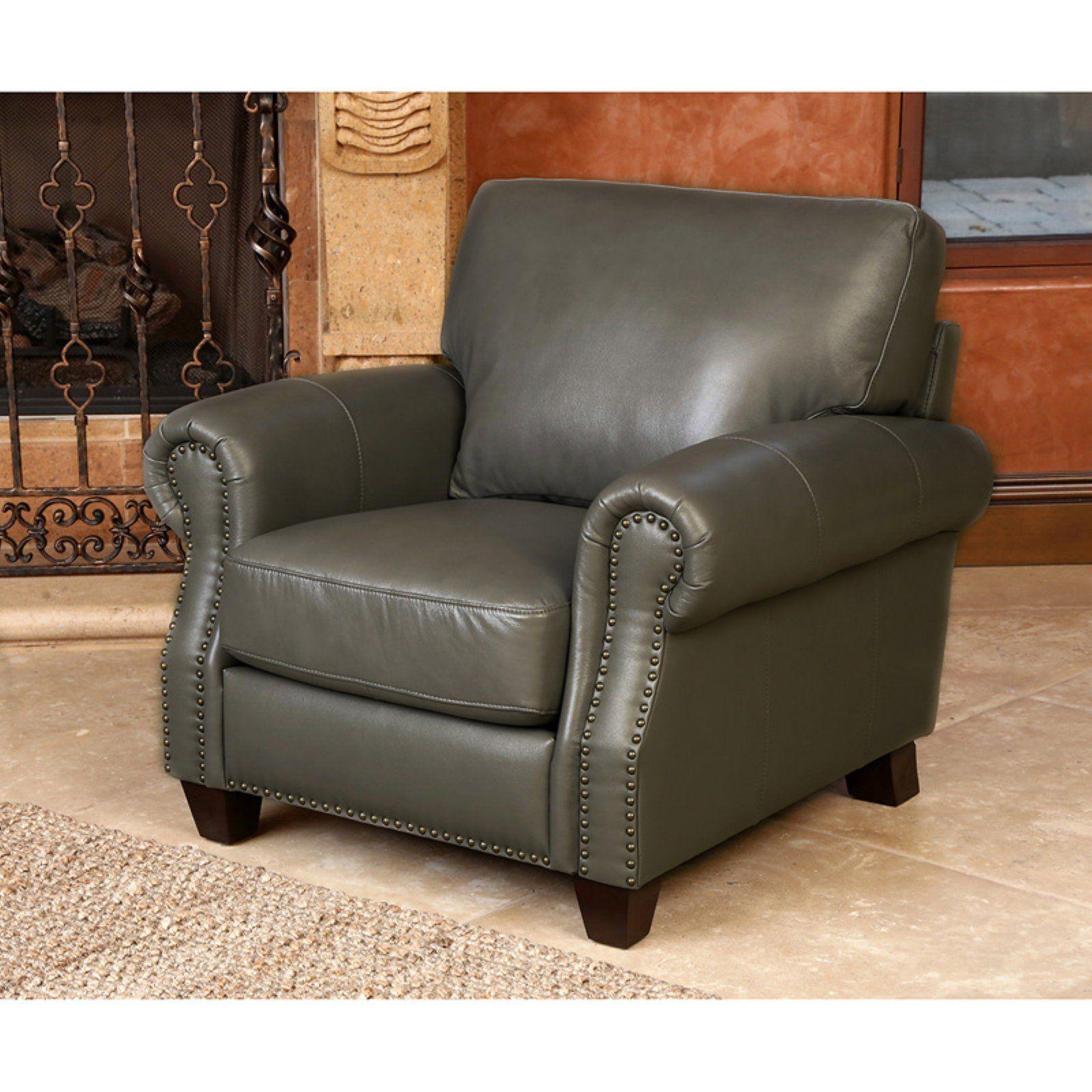 Abbyson lister grey leather armchair top grain leather