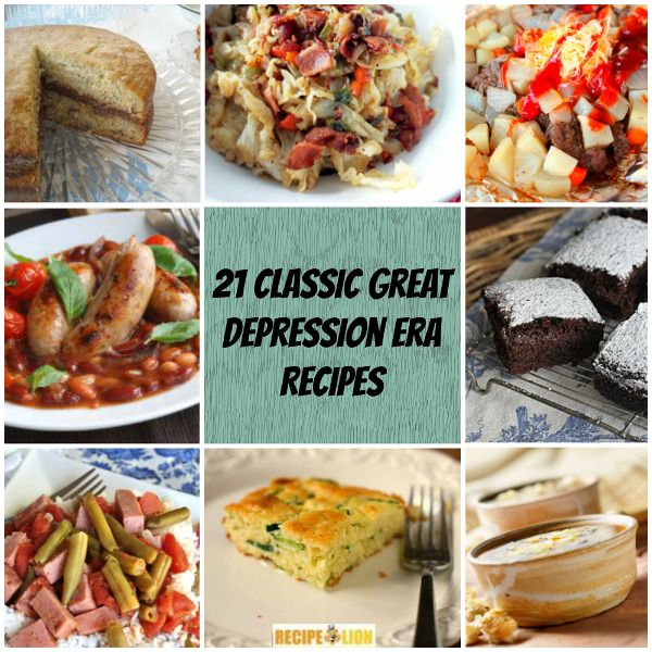 Recipes from the depression days