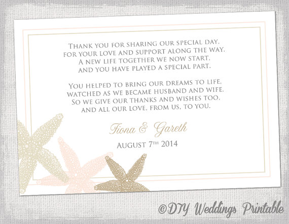 beach wedding thank you card template starfish wedding printable ecru champagne petal blush pink you edit word templates
