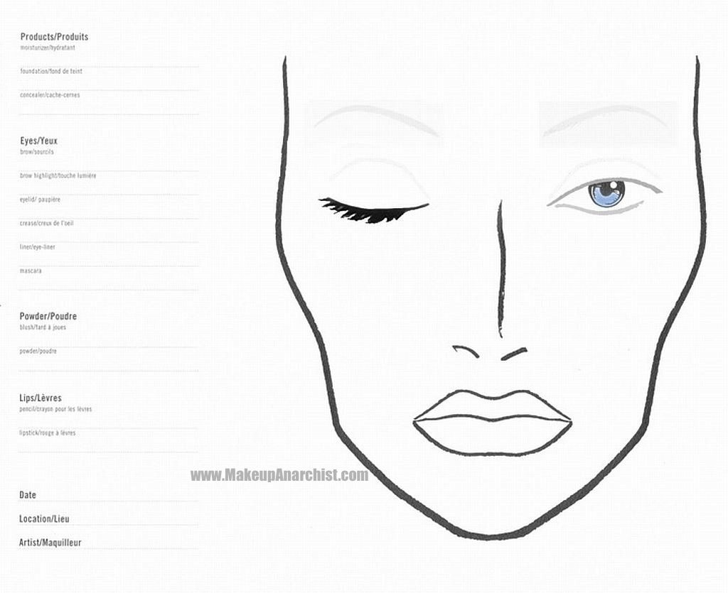 Blank Face Chart For Designing Makeup For Upcoming Events