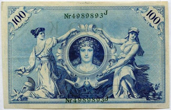 1908 Germany 100 Mark P34 XF Vintage images, Ephemera