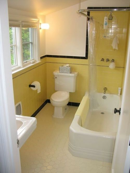 Look At The Retro Yellow Bathroom Tile Ideas That We Offer Below And Find The Right Inspiration Pat Yellow Bathroom Tiles Yellow Bathrooms Black Tile Bathrooms