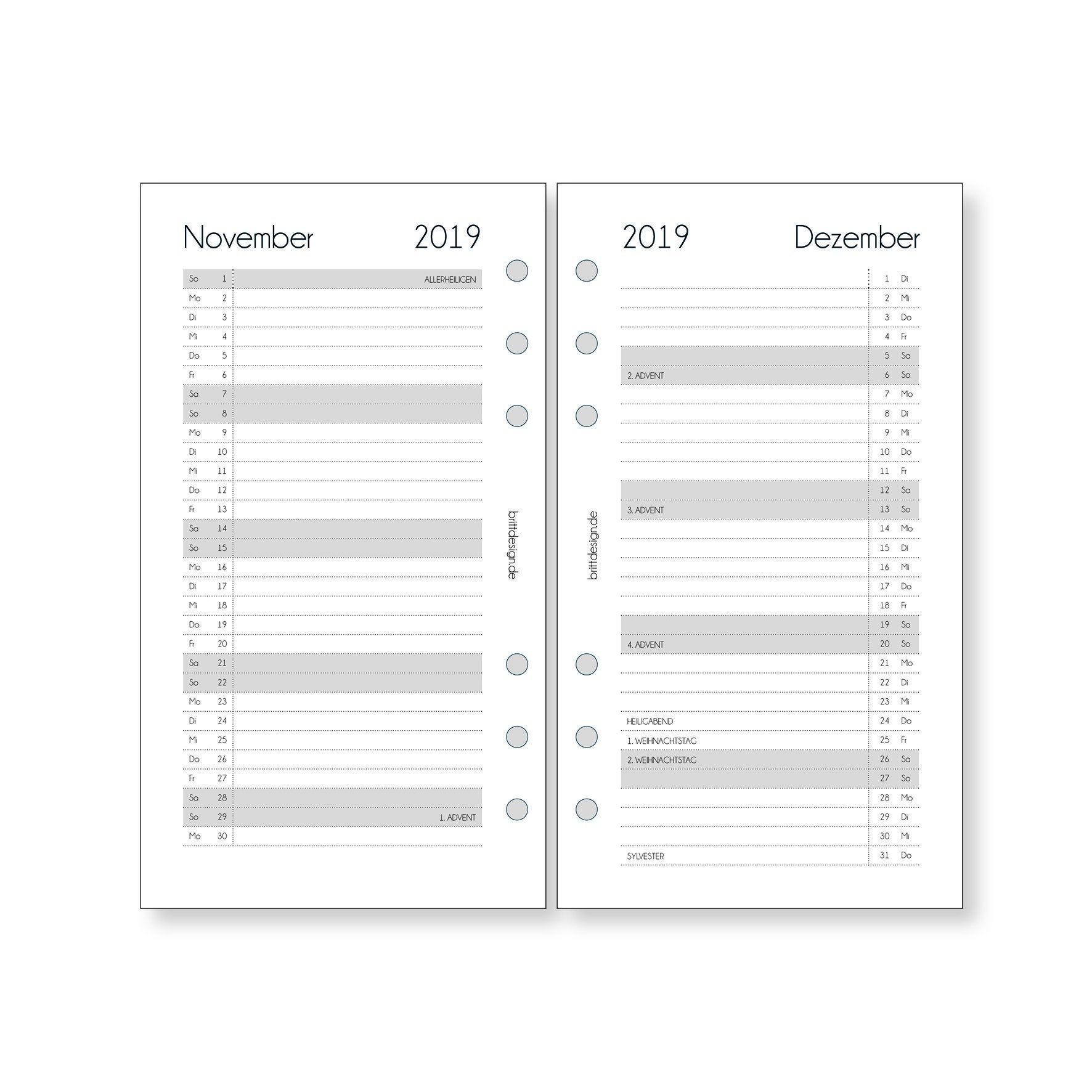Terminplaner Kalendereinlagen 2020-1 Monat auf 2 Seiten in Personal filofax