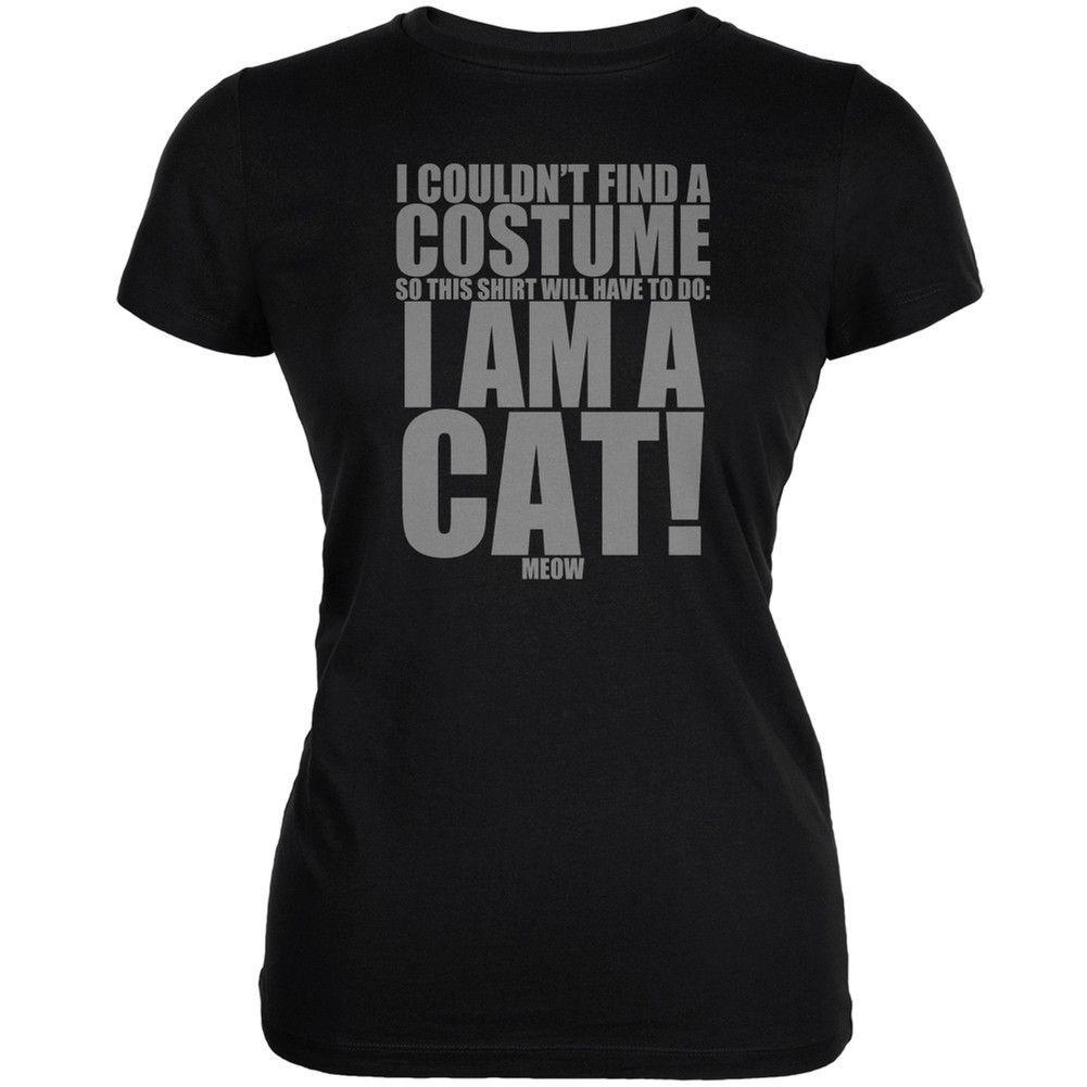 Halloween Cheap Cat Costume Black Juniors Soft T Shirt