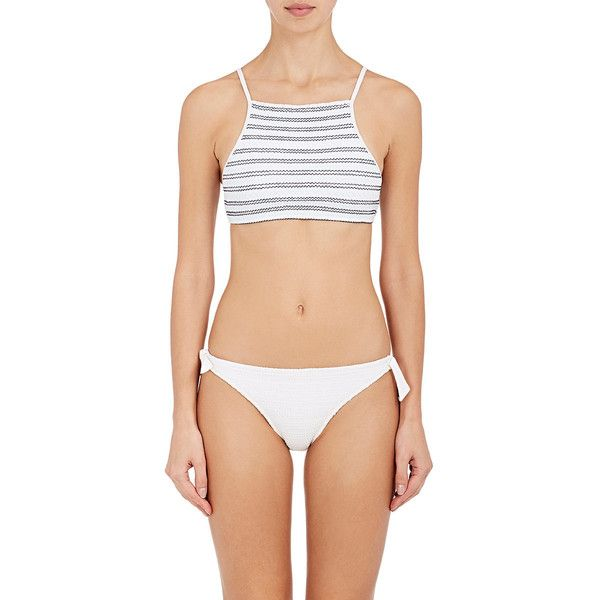 Kisuii Women's Terez Smocked Crop Bikini Top ($130) ❤ liked on Polyvore featuring swimwear, bikinis, bikini tops, white, shelf bra, white swimwear, crop bikini top, crop bikini and tankini tops