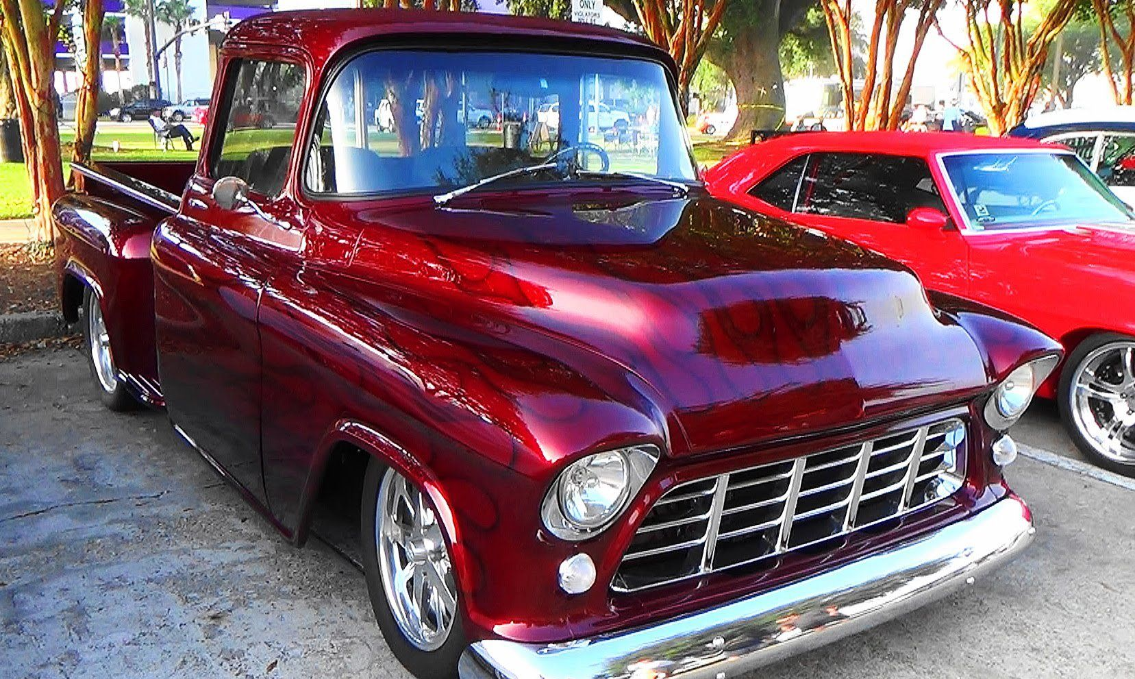 55 chevy truck has phenomenal flame job in its stunning candy paint rh pinterest com