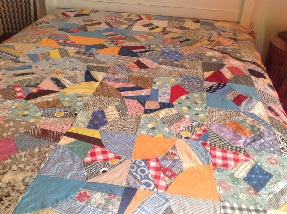 Vintage Quilt Top 1940s Paper Pieced, Scrappy Feedsack Double ... : vintage quilt tops - Adamdwight.com
