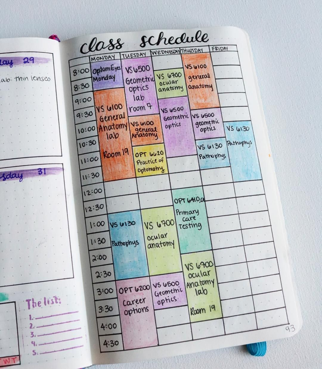 class schedule layout