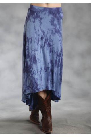 Roper 6-gored Rayon Jersey Skirt Studio West- Blue Belle Skirts Urban Western Wear