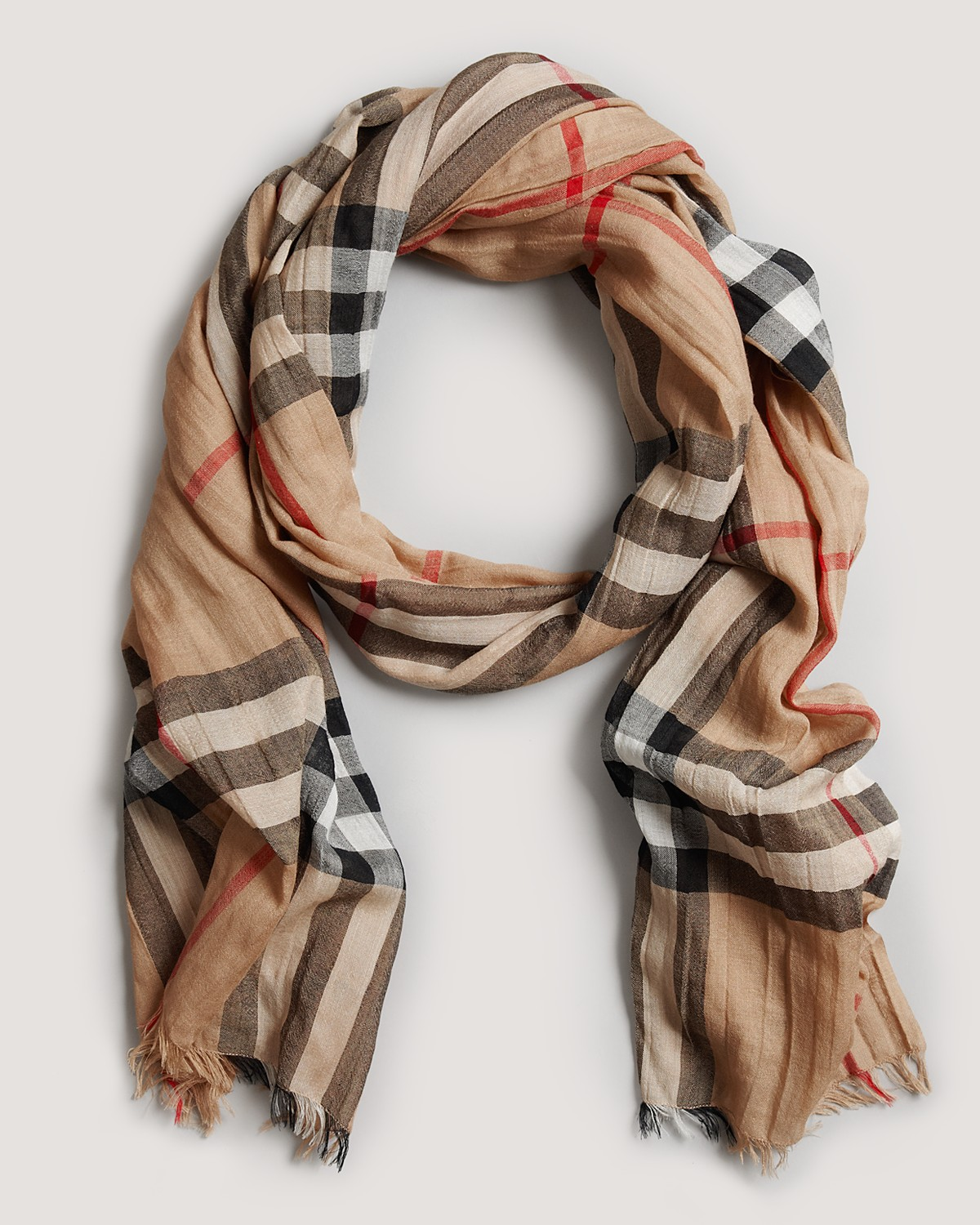 Giant Check Gauze Scarf in Camel by Burberry   Burberry   Pinterest ... c11bb129099