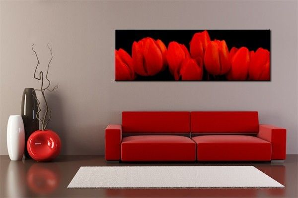 toile photo panoramique 3 1 les tulipes rouges. Black Bedroom Furniture Sets. Home Design Ideas