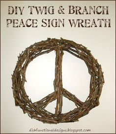 DIY Twig & Tree Branch Peace Sign Wreath #twigcrafts