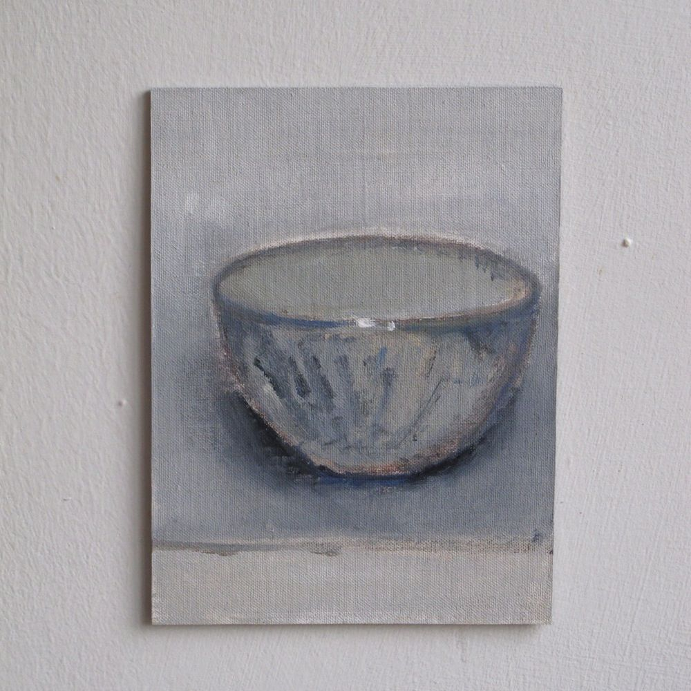 Pale textured bowl - mixed media on linen, by Cathy Cullis