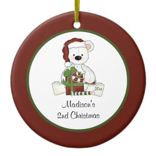2nd Christmas Santa Bear Personalized Christmas Ornaments
