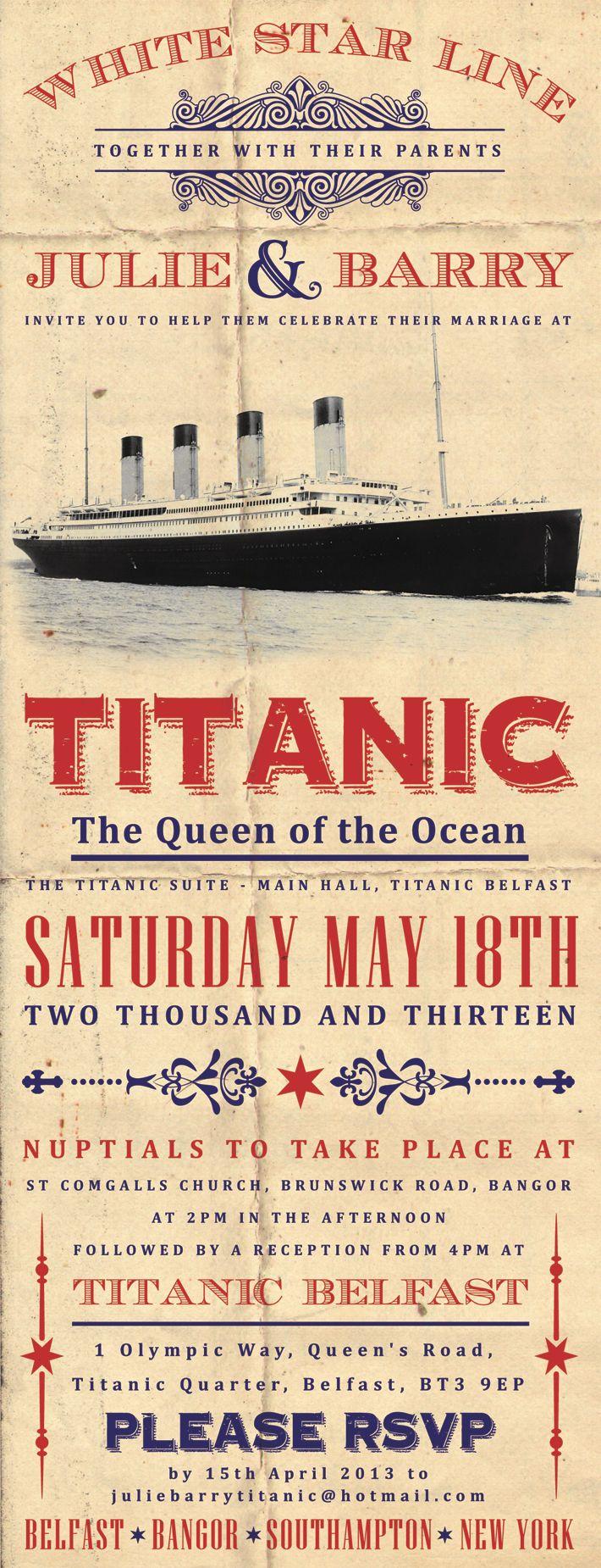 titanic themed wedding invitation | titanic belfast weddings ...